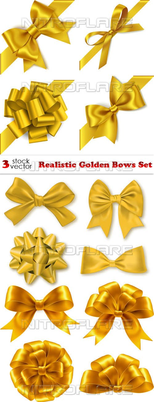 Vectors - Realistic Golden Bows Set