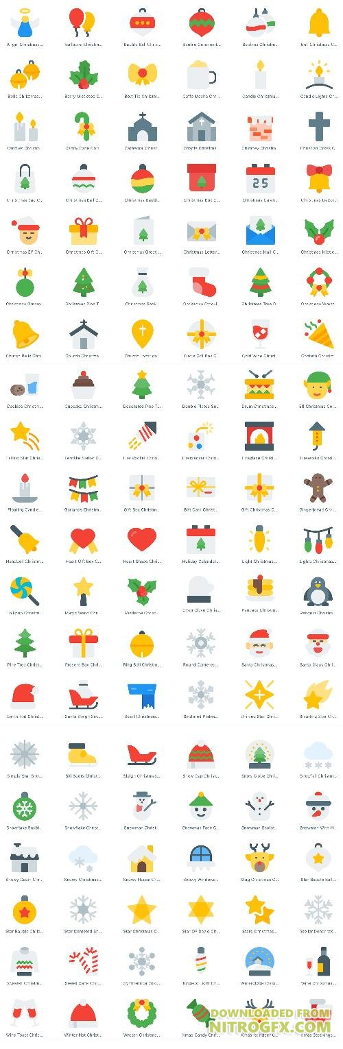 120 EPS, SVG Vector Web Icons - Christmas And New Year 2018