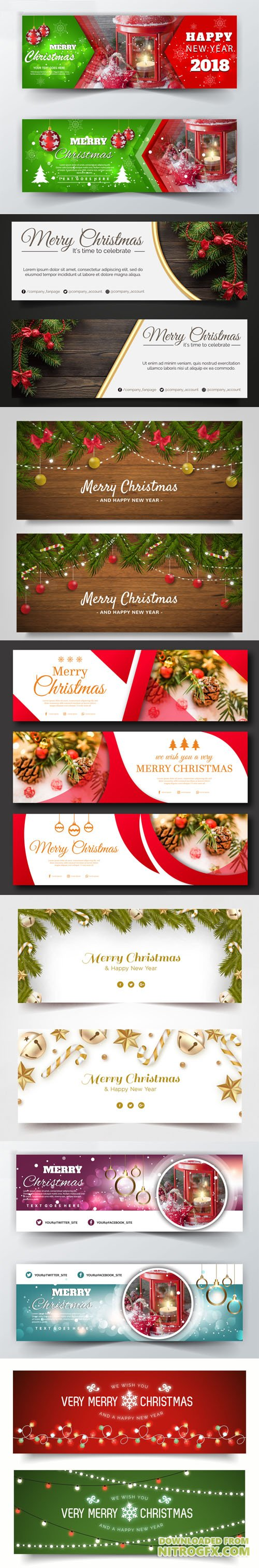 7 Merry Christmas Holiday Banners Collection in Vector