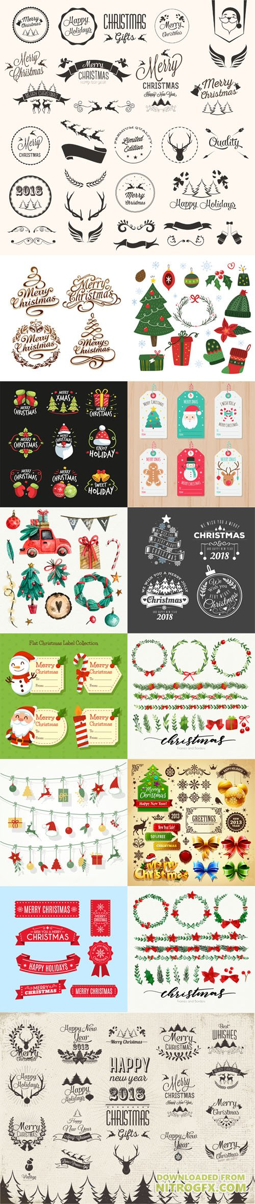 Pretty Christmas Elements Collection in Vector