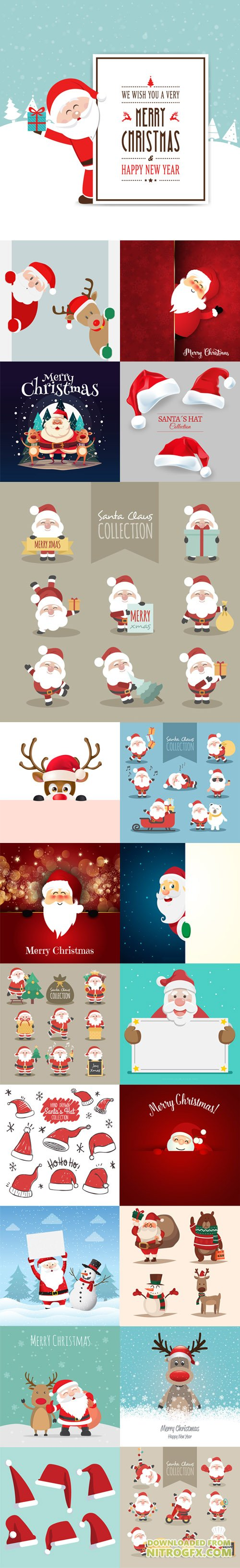 Lovely Christmas Characters Collection in Vector