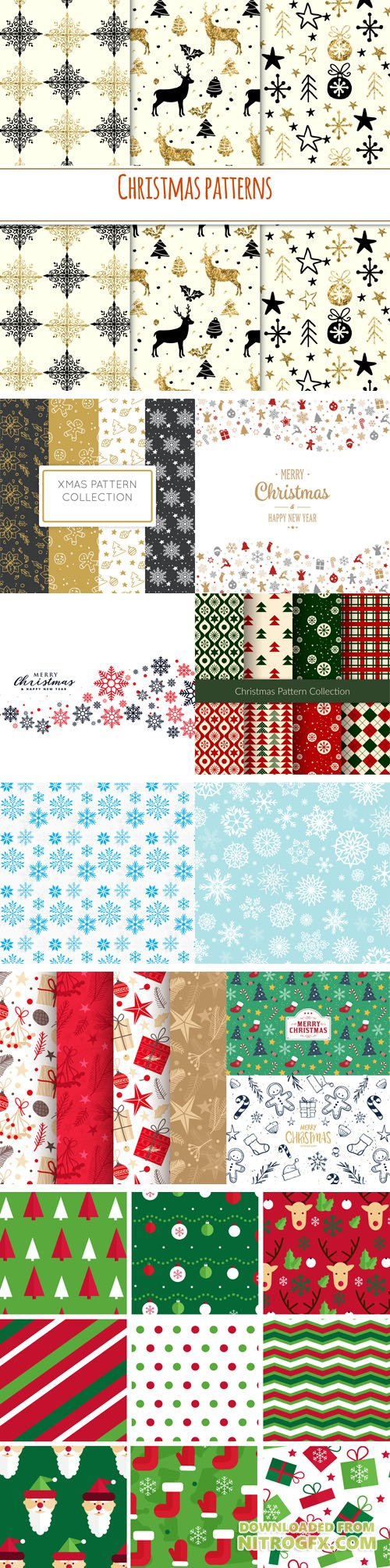 Elegant Christmas Patterns Collection in Vector