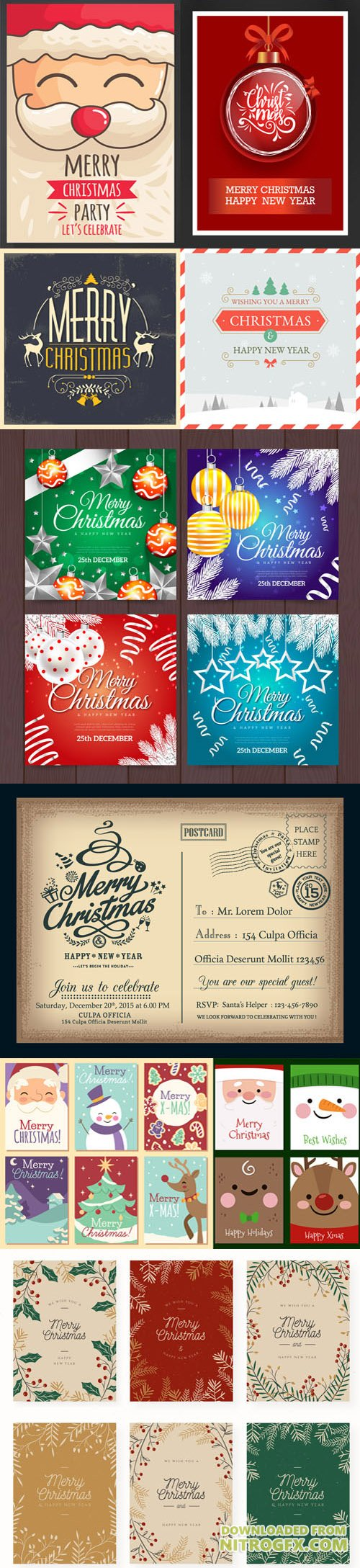 Pretty Merry Christmas Cards Collection in Vector