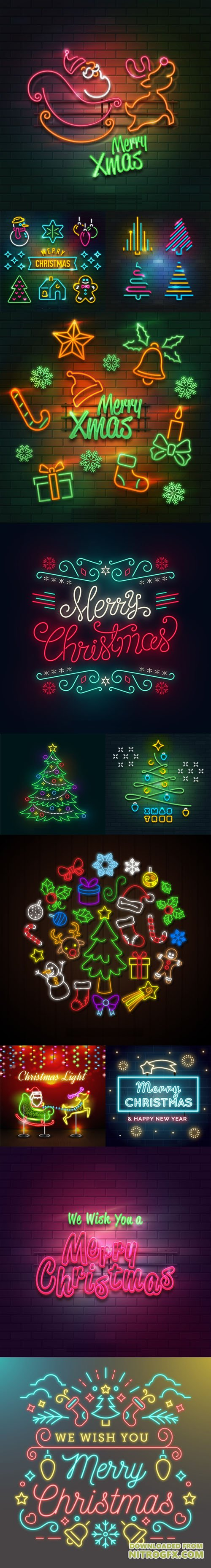Neon Lights Christmas Collection in Vector