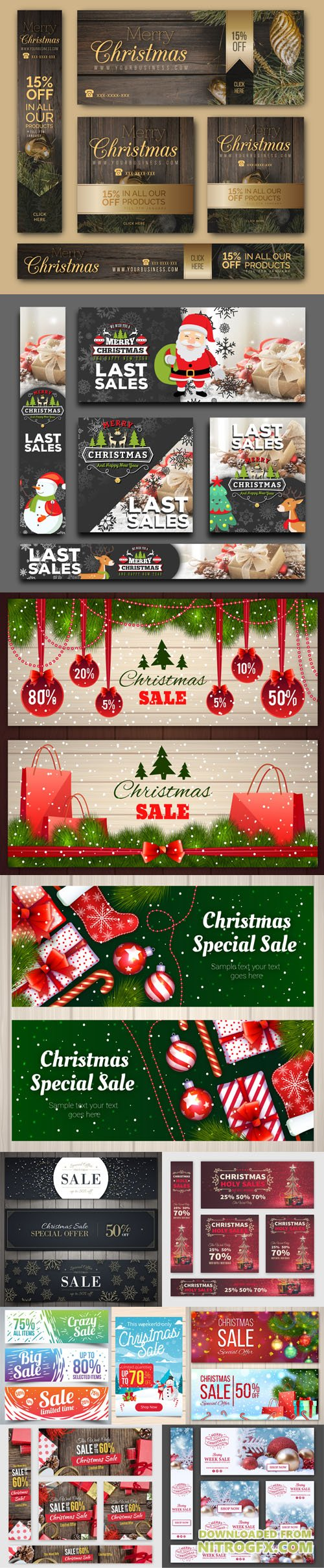 Cute Christmas Sales Banners Collection in Vector