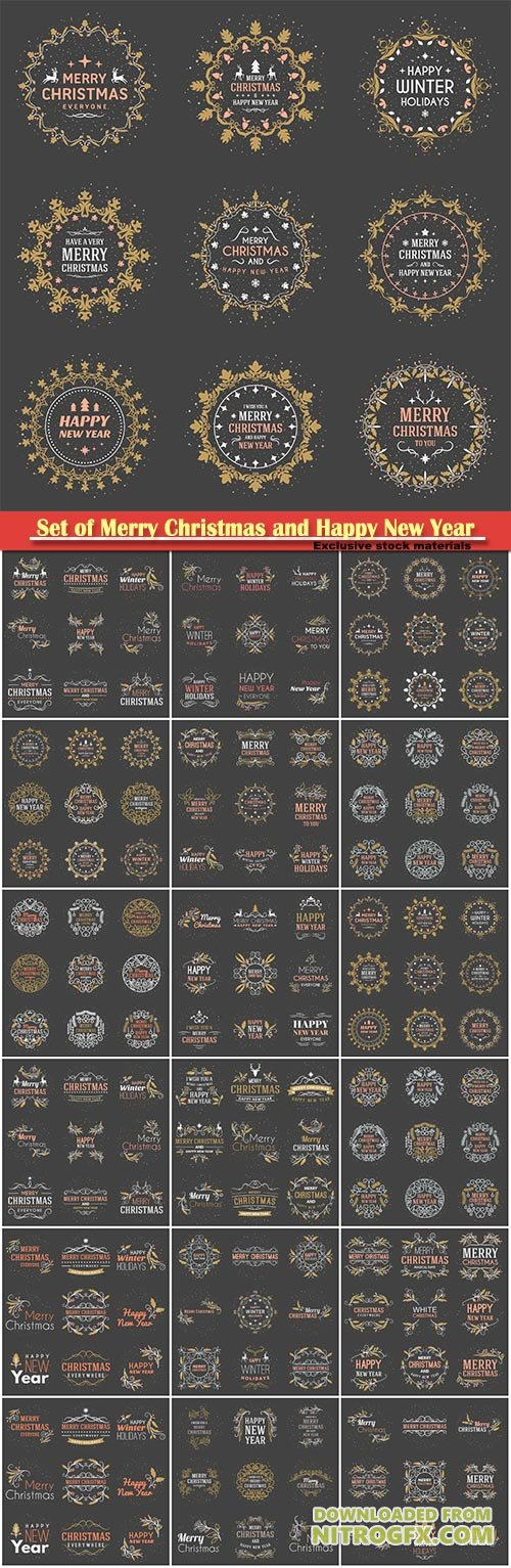 Set of Merry Christmas and Happy New Year decorative badges on dark vector background