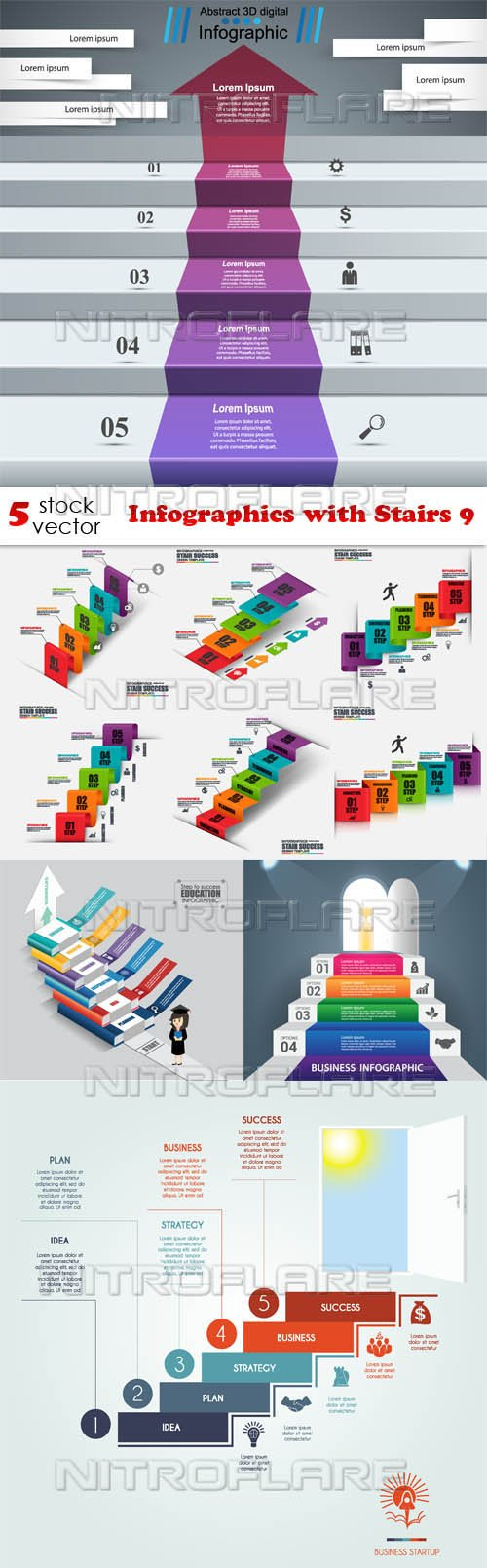 Vectors - Infographics with Stairs 9