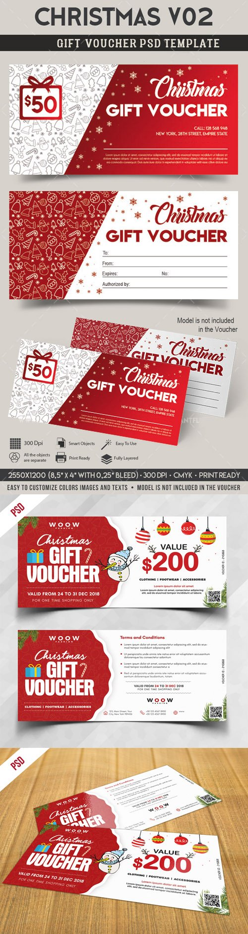 Holiday Season Sale Gift Voucher PSD Templates