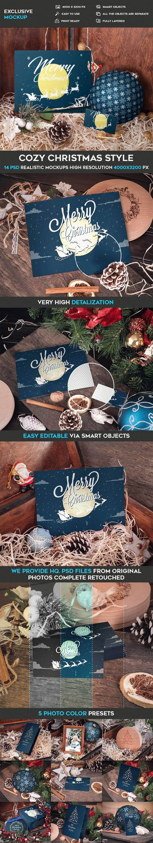Cozy Christmas Styles - 14 PSD Mockups