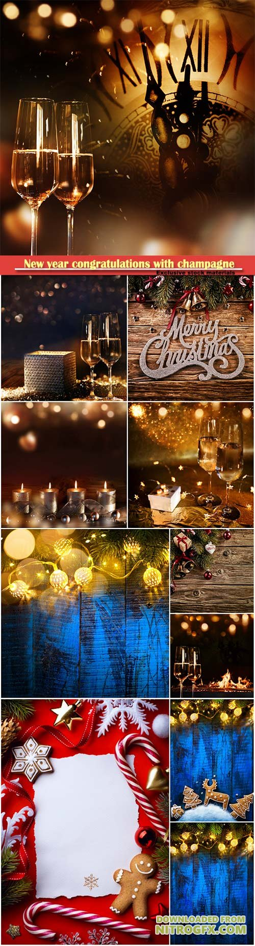New year congratulations with champagne, Christmas decorations