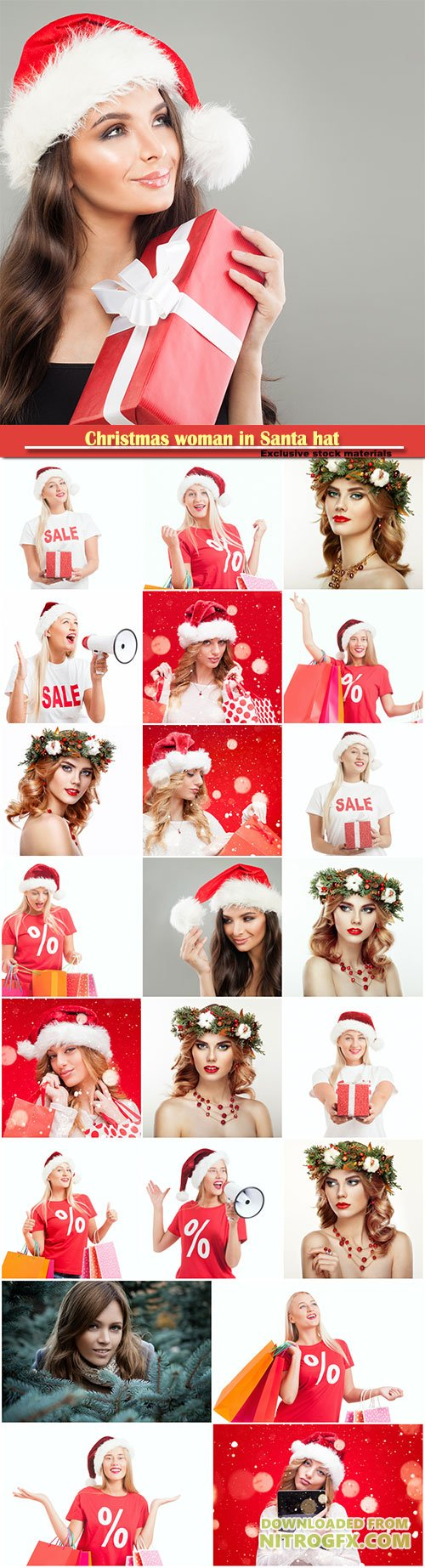 Christmas woman in Santa hat, woman with Christmas wreath