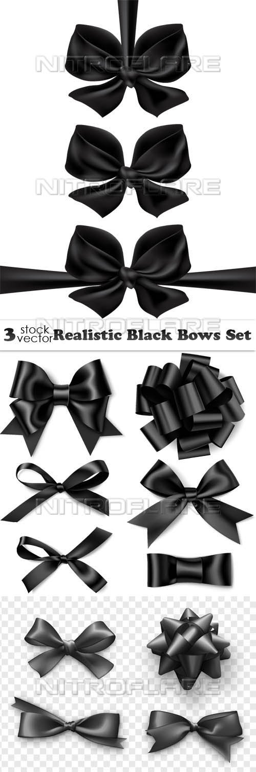 Vectors - Realistic Black Bows Set