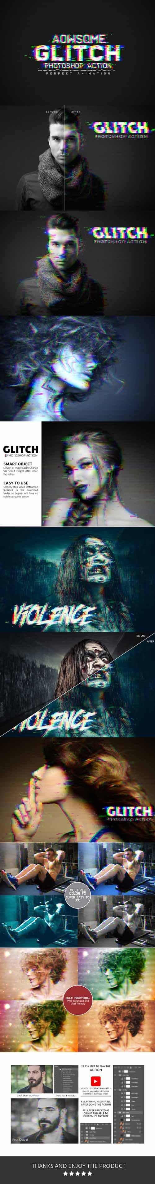 GraphicRiver - Glitch Photoshop Action 21144778