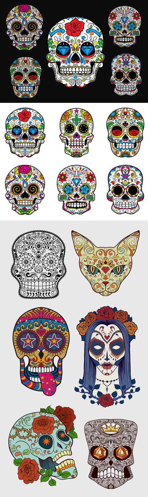 Sugar Skulls Vector Worth $30