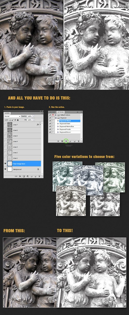 Engrave Photoshop Action Worth $10