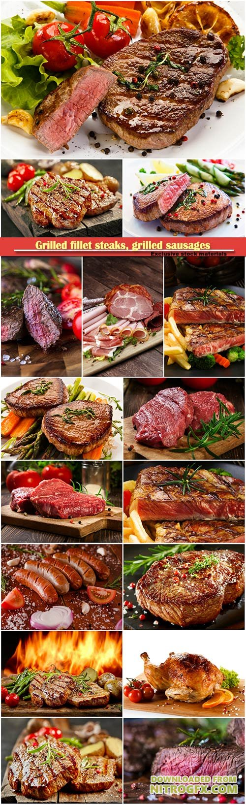 Grilled fillet steaks, grilled sausages and vegetables, tomato and onion