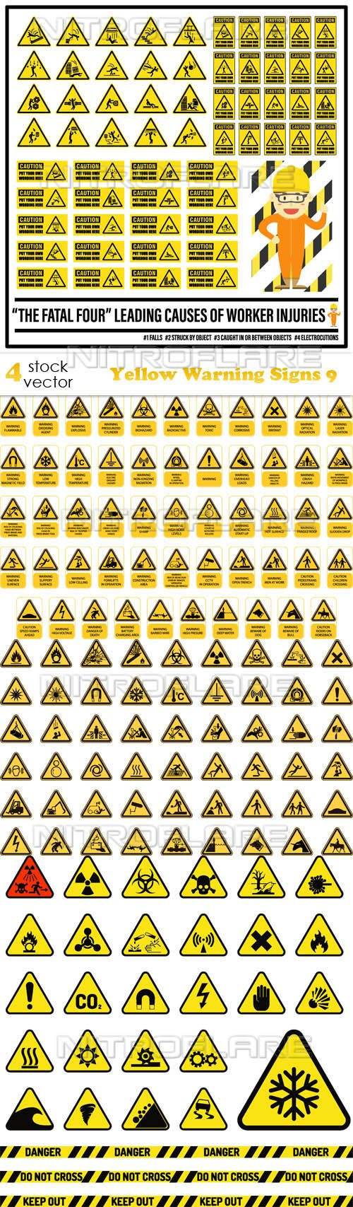 Vectors - Yellow Warning Signs 9