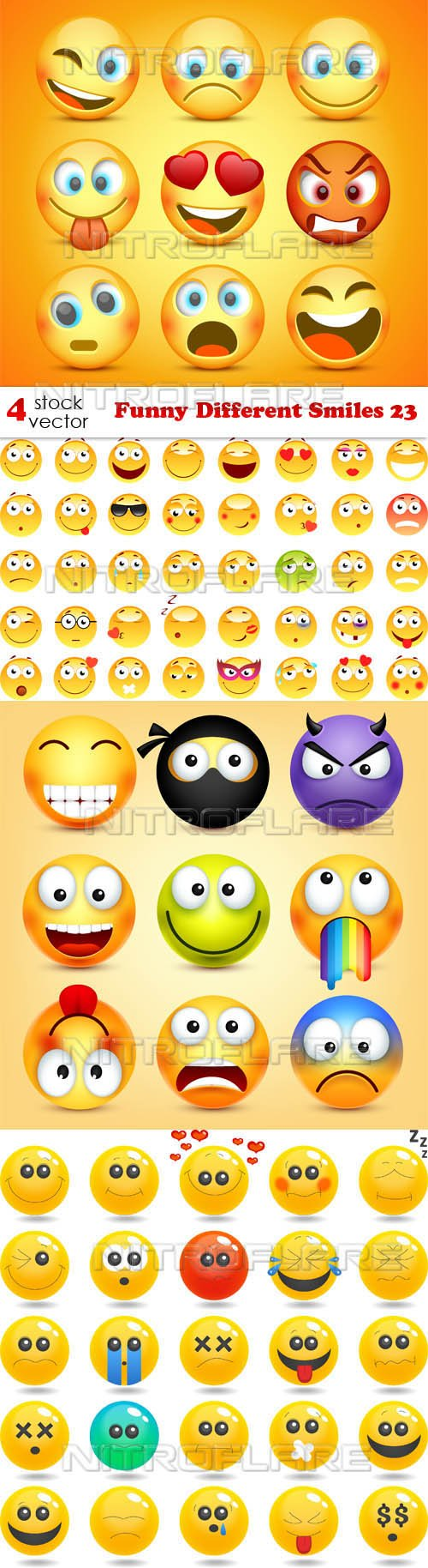 Vectors - Funny Different Smiles 23