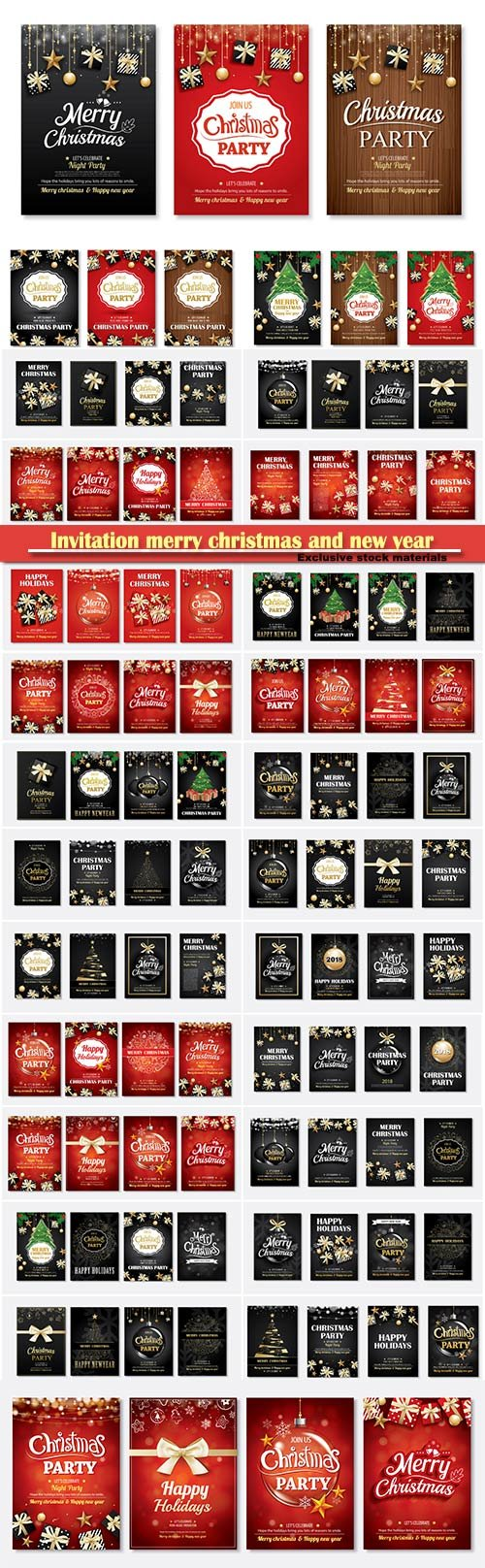 Invitation merry christmas and new year party poster banner