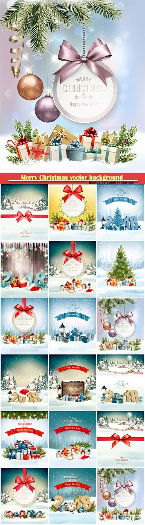 Merry Christmas vector background with branches of tree and colorful gift boxes