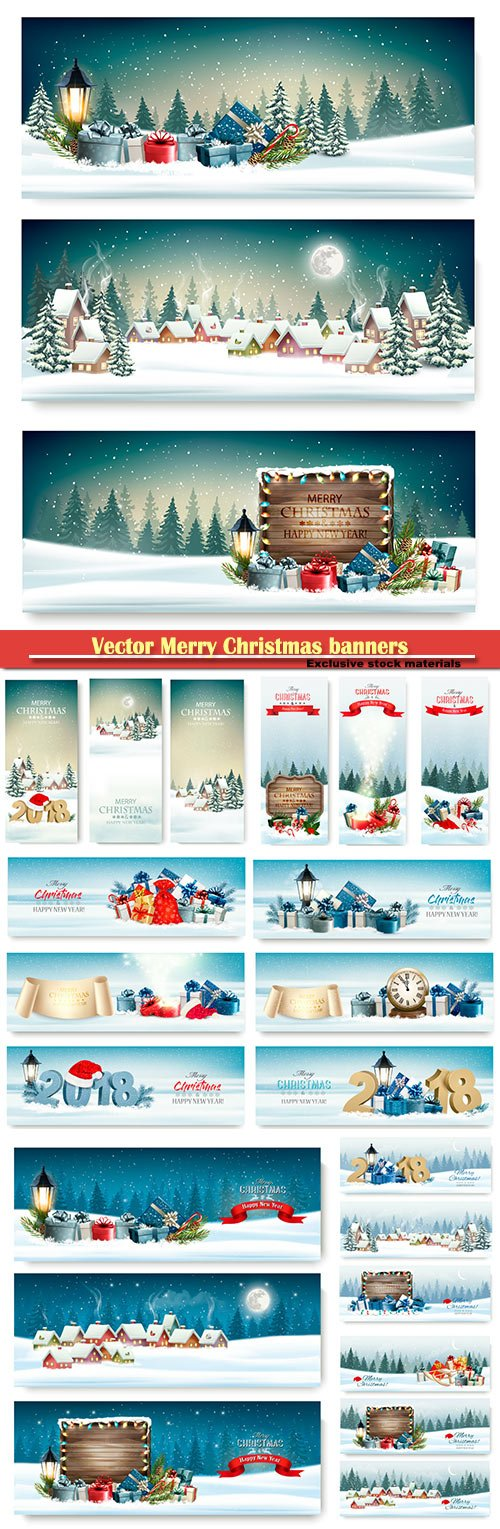 Vector Merry Christmas banners with branches of tree and presents