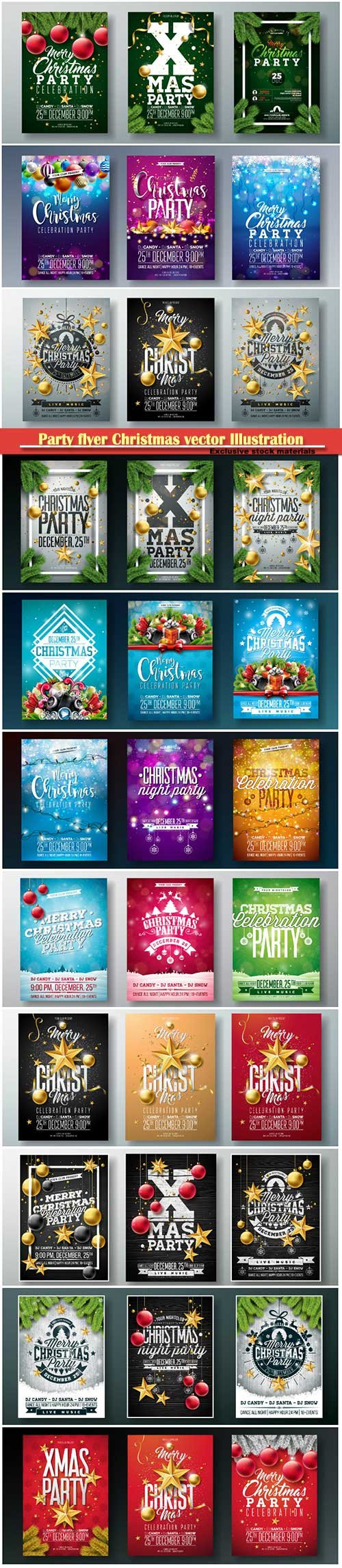 Party flyer Christmas vector Illustration with holiday elements