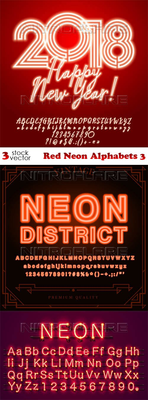 Vectors - Red Neon Alphabets 3