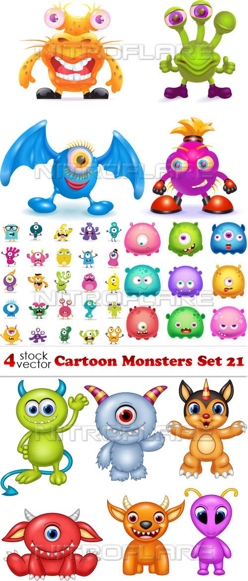 Vectors - Cartoon Monsters Set 21