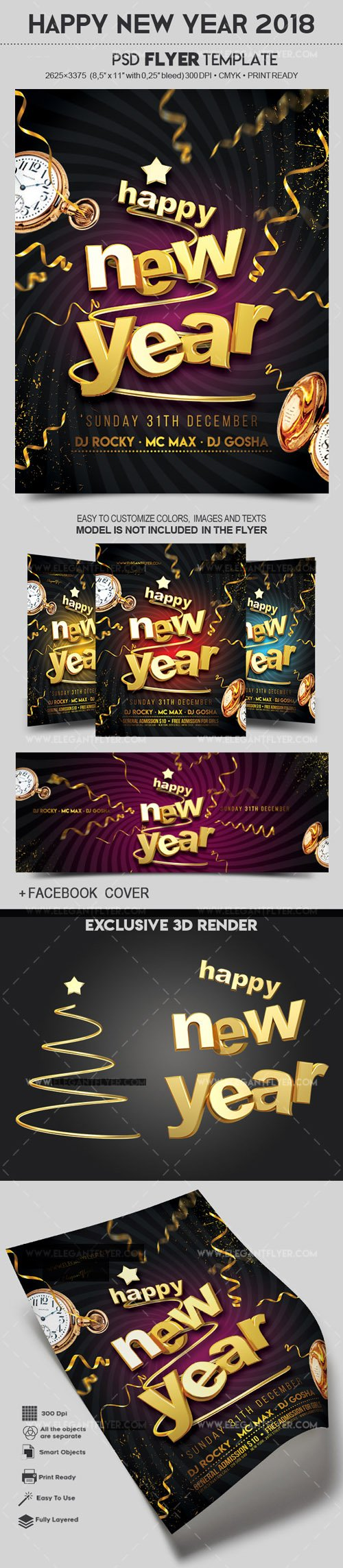 Happy New Year 2018 Flyer PSD Template (+ Facebook Cover)