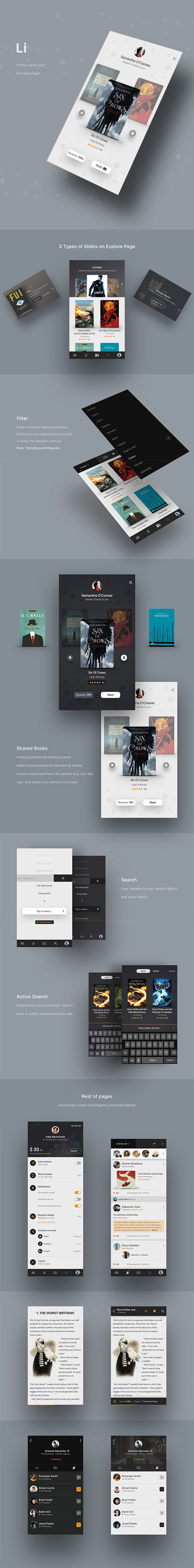 Li Online Library - Creative Library App PSD Template designed in Photoshop