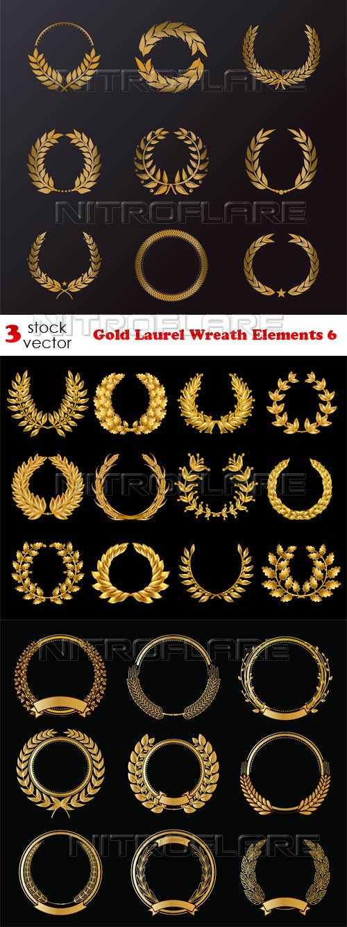 Vectors - Gold Laurel Wreath Elements 6