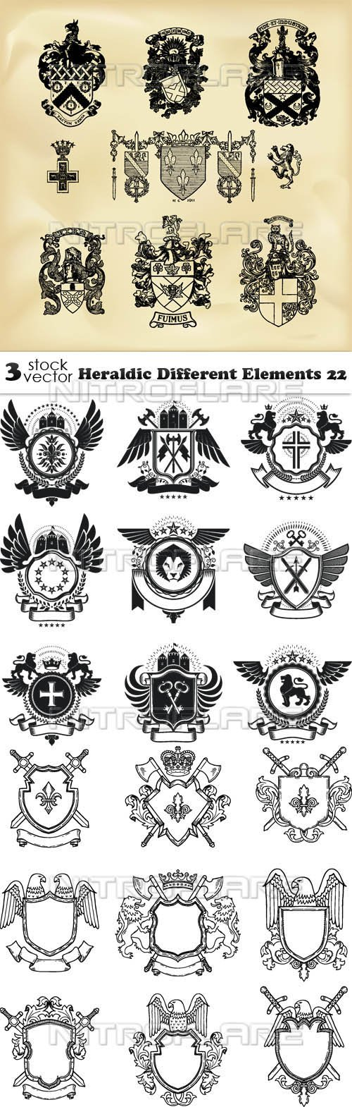 Vectors - Heraldic Different Elements 22
