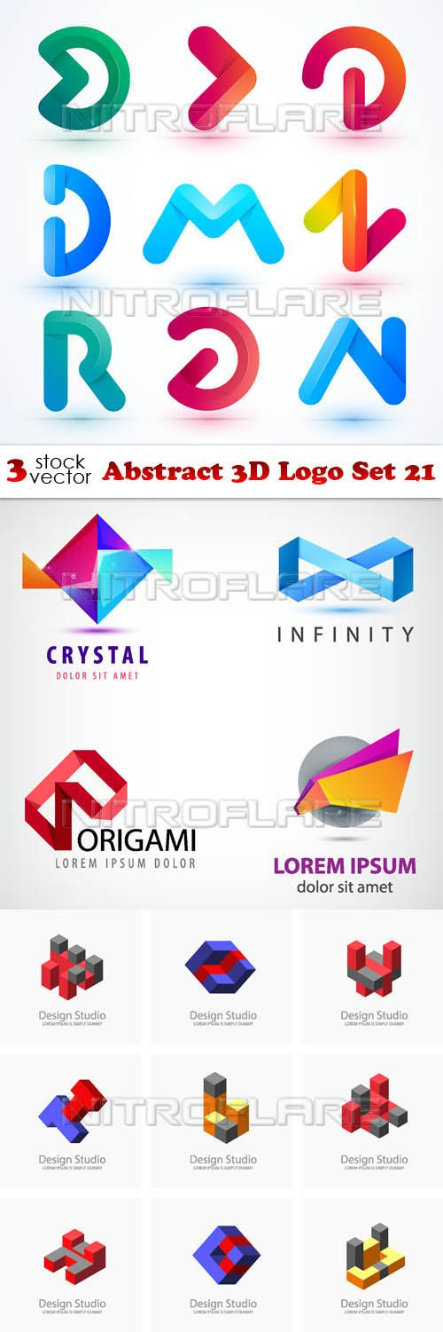Vectors - Abstract 3D Logo Set 21