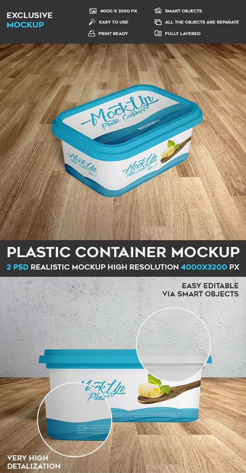 Plastic Container - 2 PSD Mockups