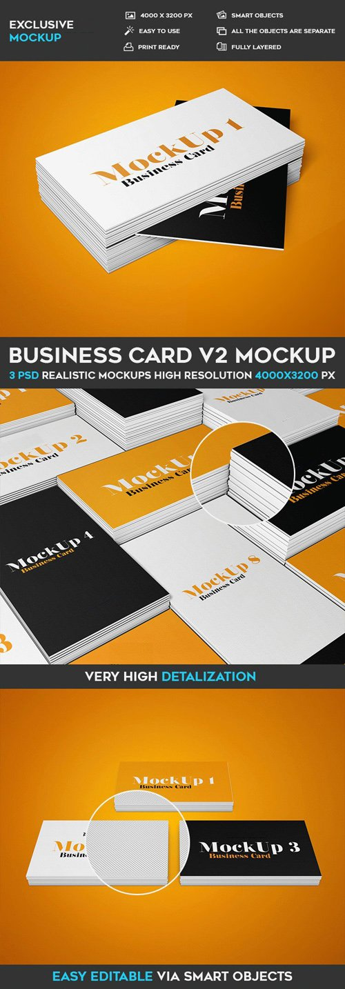 Business Card v2 - 3 PSD Mockups