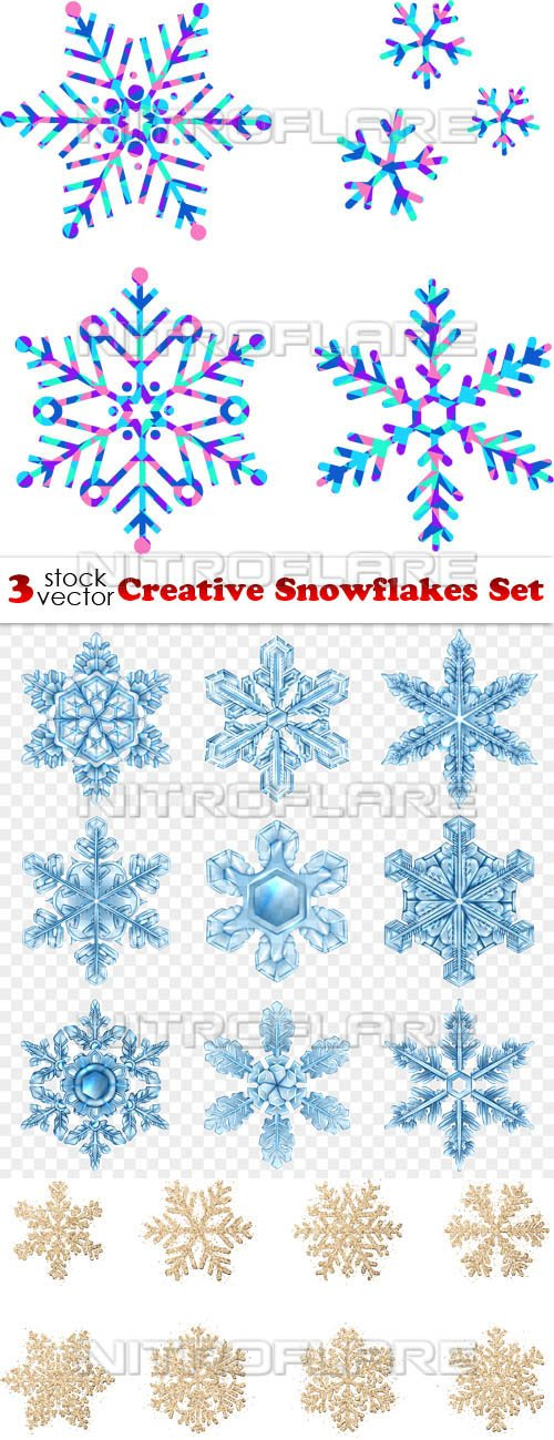Vectors - Creative Snowflakes Set