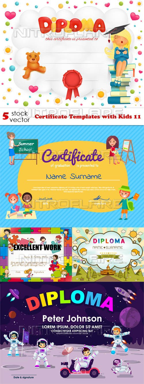 Vectors - Certificate Templates with Kids 11