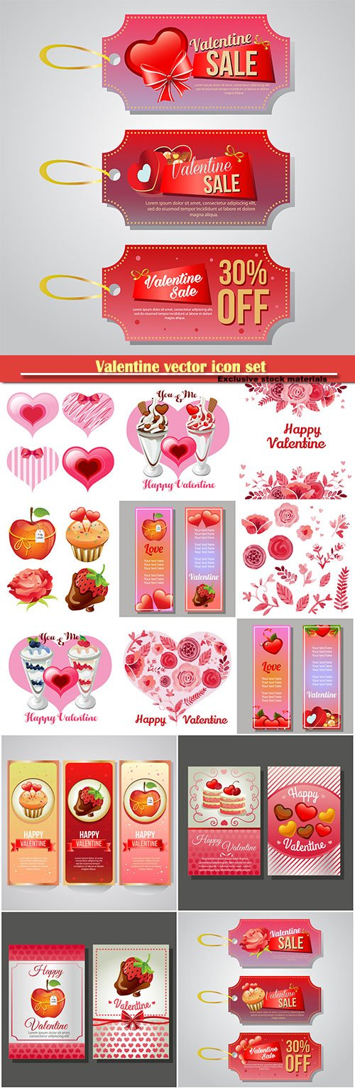 Valentine vector icon set and vertical banner