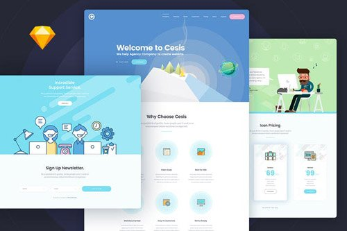 Cesis Flat Style One Page Sketch App Template