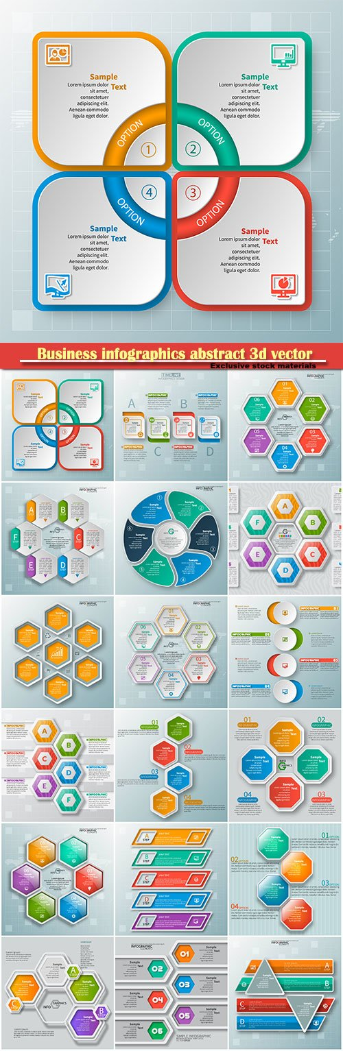 Business infographics abstract 3d vector paper elements