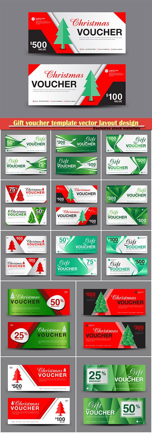 Gift voucher template vector layout design, discount card, banner illustration