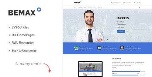 ThemeForest - Bemax v1.0 - Multipurpose Corporate Business PSD Template - 21009987