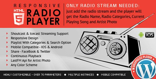 CodeCanyon - Radio Player Shoutcast & Icecast WordPress Plugin v1.9 - 9013963