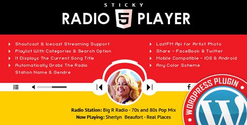 CodeCanyon - Sticky Radio Player WordPress Plugin v1.3 - Full Width Shoutcast and Icecast HTML5 Player - 17162755