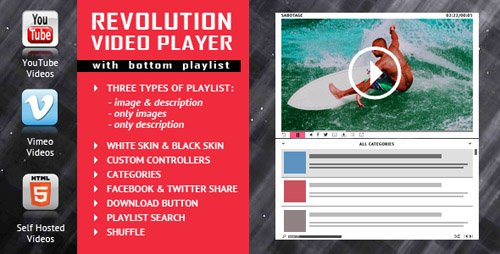 CodeCanyon - Revolution Video Player With Bottom Playlist v1.4 - YouTube/Vimeo/Self-Hosted Support - 18093161