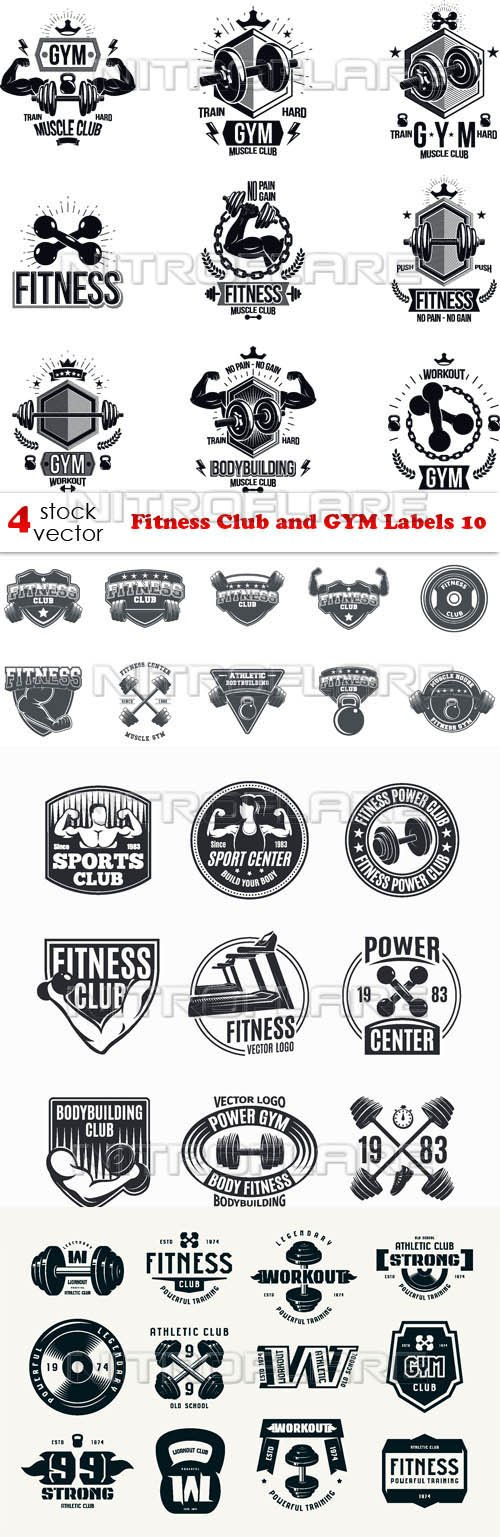 Vectors - Fitness Club and GYM Labels 10