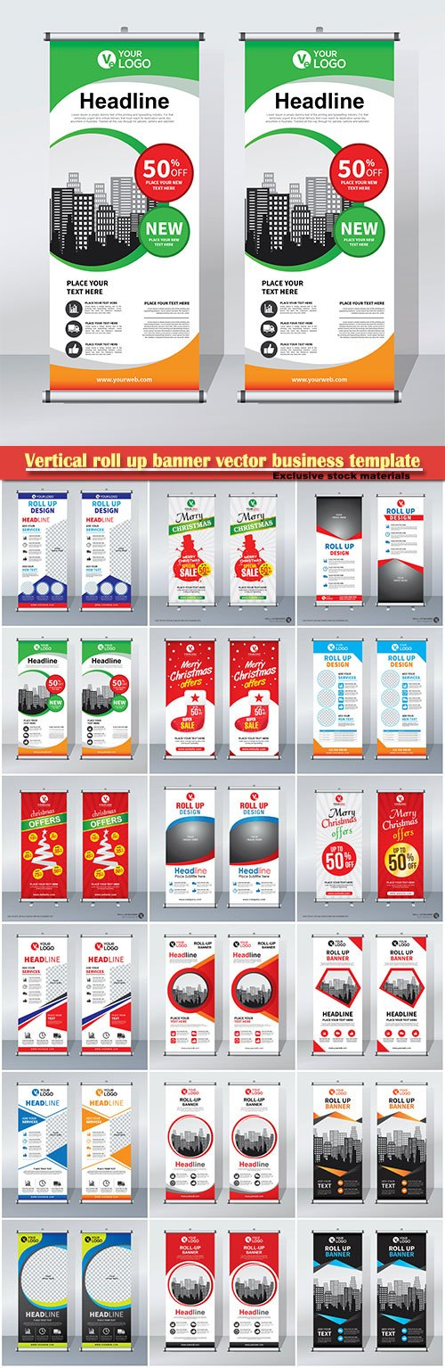 Vertical roll up banner vector business template # 4