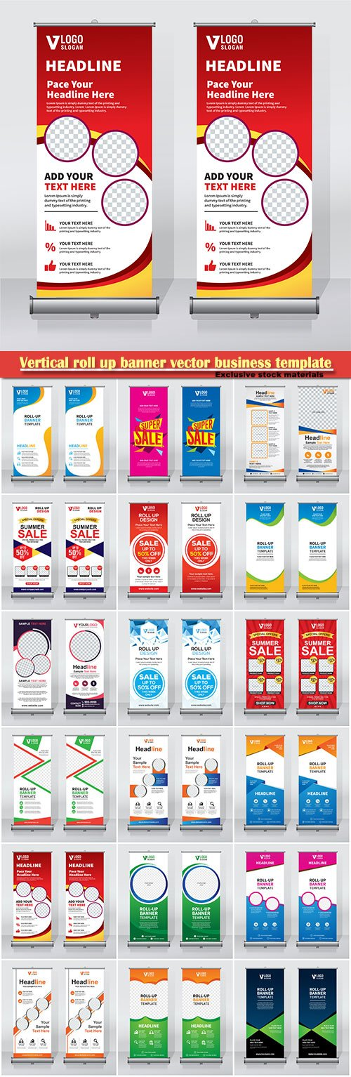 Vertical roll up banner vector business template # 2