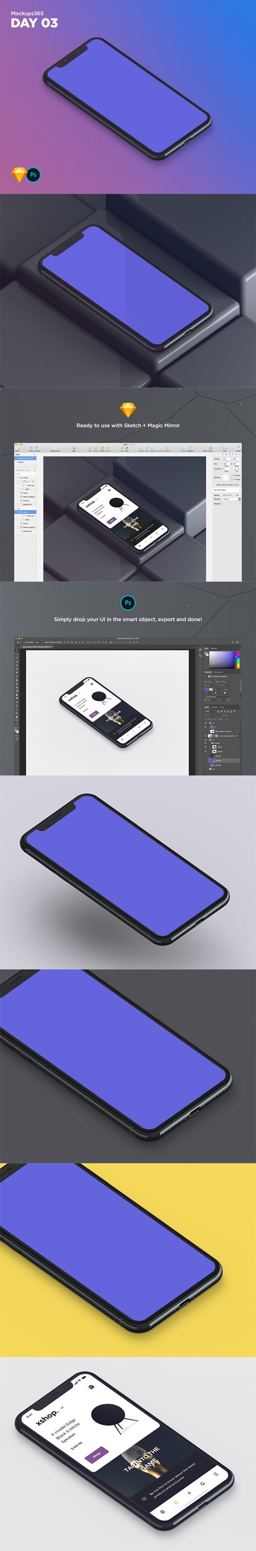 Mockups365: Day 3 - Realistic iPhone X isometric mockup for Sketch & Photoshop