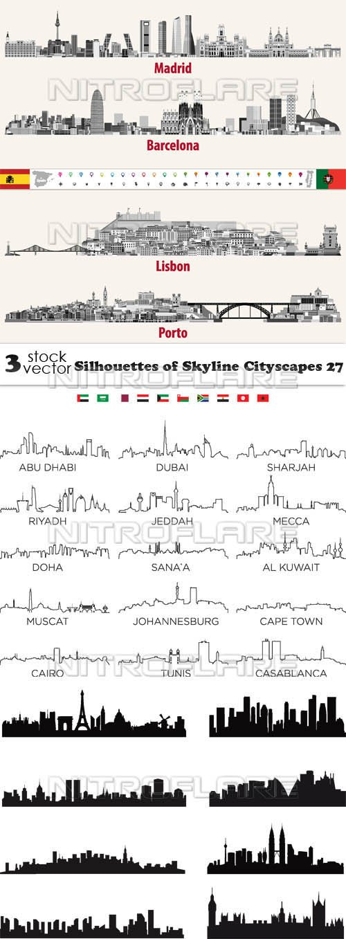 Vectors - Silhouettes of Skyline Cityscapes 27